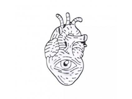 Pin / Brož Odznáček - srdce s okem