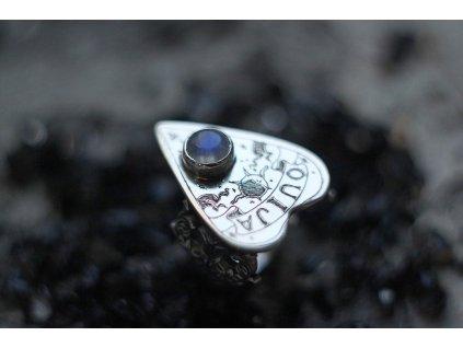 HYPSOLINE JEWELRY - STŘÍBRNÝ PRSTEN OUIJA s měsíčním kamenem