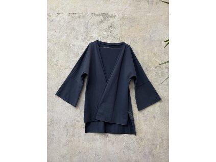 ARTGI tmavě šedá kimono mikina s širokými rukávy