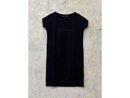 ARTGI Šaty KA, černé bavlněné šaty černá vodorovná čára