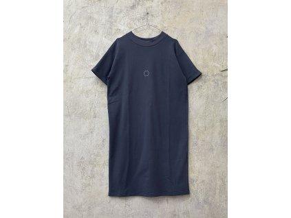 ARTGI Maxitriko / šaty tmavě šedé - bílý kroužek + puntík
