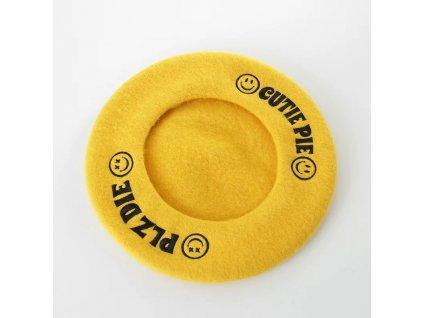 PLZ DIE CUTIE PIE žlutý vlněný baret