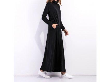 DARK dlouhé černé rolákové šaty s dlouhým rukávem