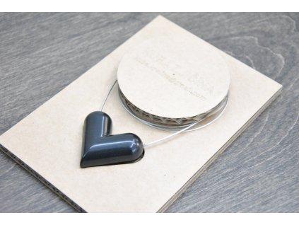 Jakub Křelina - HEART / BLACK - náhrdelník se srdcem z bombiček