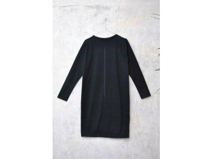 ARTGI šaty černé bavlněné s dlouhým rukávem - černá čára / 55.