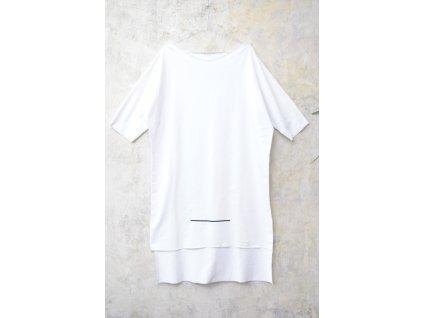 ARTGI šaty bílé bavlněné s krátkým rukávem - černé čáry / 46.