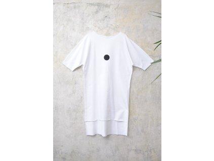 ARTGI mikinošaty bílé bavlněné s krátkým rukávem - černý puntík / 47.