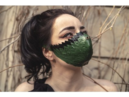 KirstenVaams latexová rouška / maska Green Dragon Skin - zelená