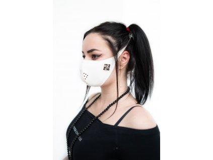 KirstenVaams latexová rouška / maska White Metal Cross - bílá