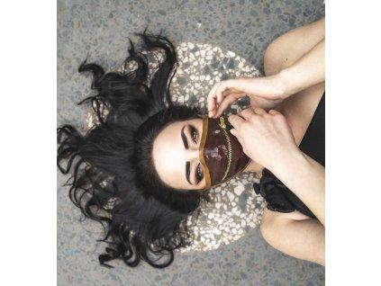 KirstenVaams latexová rouška / maska Chelsea Smile Choc - hnědá se zipem