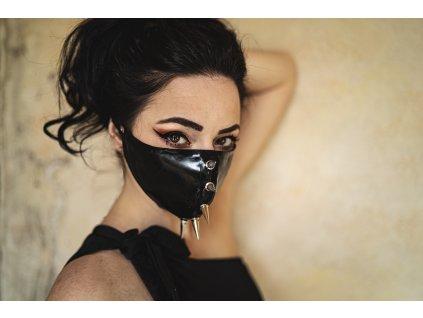 KirstenVaams latexová rouška / maska Brutal Assault - černá s ostny