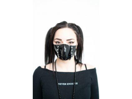 KirstenVaams latexová rouška / maska Fighter Black Metal - černá