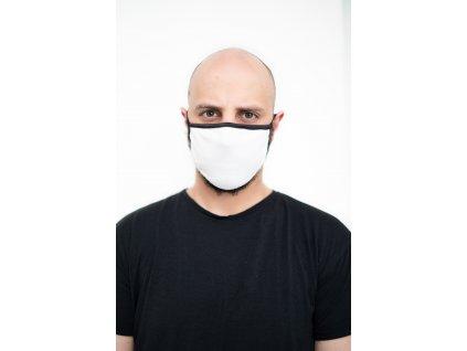 NTRXZ maska na obličej / rouška bavlněná bílá bez potisku