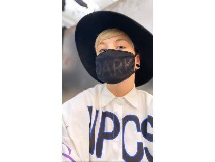 DARK dámská maska na obličej / rouška bavlněná černá - třpytivá