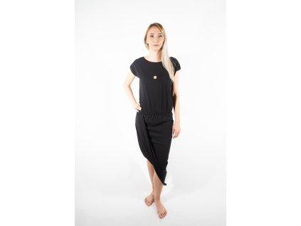 ARTGI šaty černé elastické bílý kroužek + minipuntík
