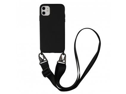 IPHONE Crossbody kryt / závěs na telefon s popruhem - černý kryt / černý popruh