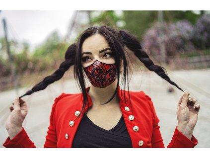 KirstenVaams latexová rouška / maska Red Gothic - červená