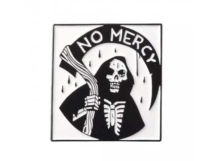 Pin / Brož odznáček NO MERCY smrtka s kosou