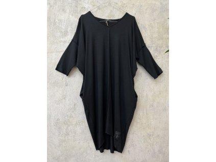 KRAPA černé šaty STELA s 3/4 rukávem a kapsami