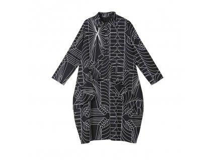 Košilové šaty černé - grafický bílý potisk - MESH s dlouhým rukávem