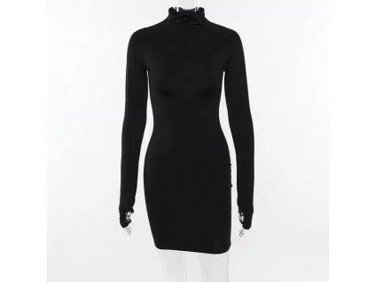 DARK neon dress black - černé krátké šaty s dlouhým rukávem