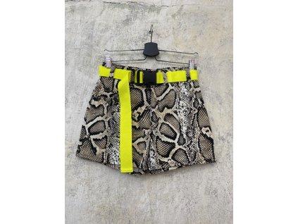 Princess Tiramisu kraťasy / šortky hnědé hadí vzor + neon pásek