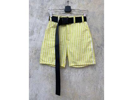 Princess Tiramisu kraťasy / šortky žlutobílé pruhované s černým páskem