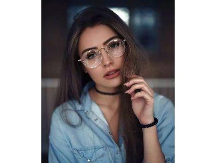 Transparentní brýle - nedioptrické čiré se stříbrnými detaily