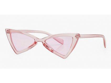 Dětské cat eye sluneční brýle - trojúhelníkové / růžové