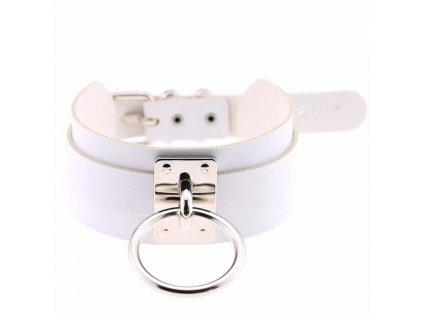 CHOKER bílý náhrdelník / obojek se stříbrným poutkem