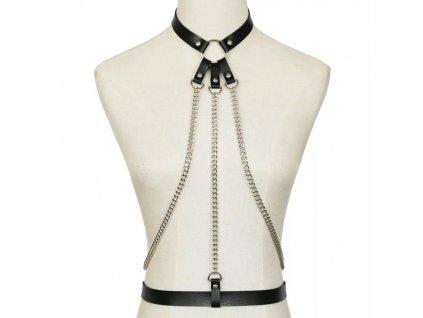 CHOKER / bodypiece harness černý se stříbrným řetízkem