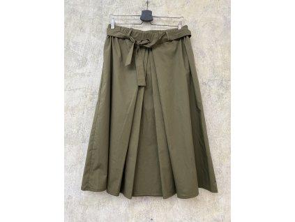 KRAPA khaki bavlněná midi sukně - zelený popelín