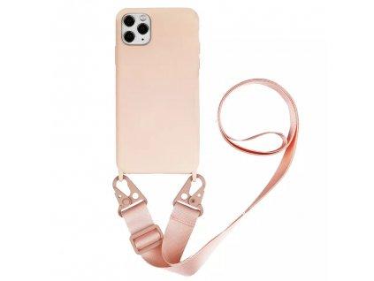 Crossbody kryt / závěs na mobilní telefon s popruhem - růžový kryt / růžový popruh