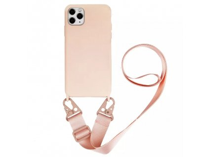 IPHONE Crossbody kryt / závěs na mobilní telefon s popruhem - růžový kryt / růžový popruh