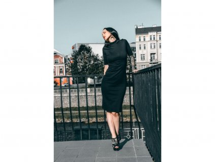 5174 saty silhouette 3 4 sleeve black