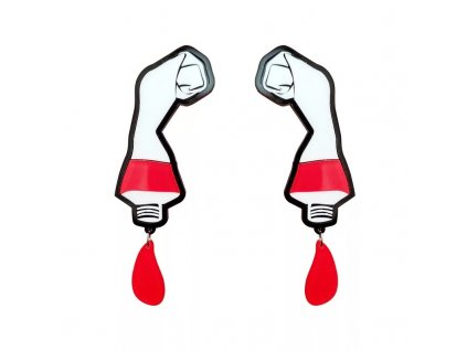 Náušnice COLOR TUBE RED - červená barva