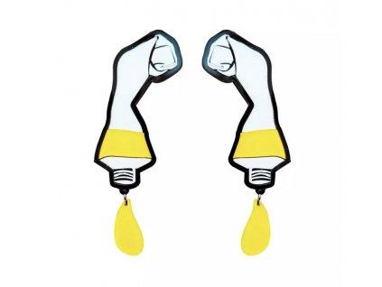 Náušnice COLOR TUBE YELLOW - žlutá barva
