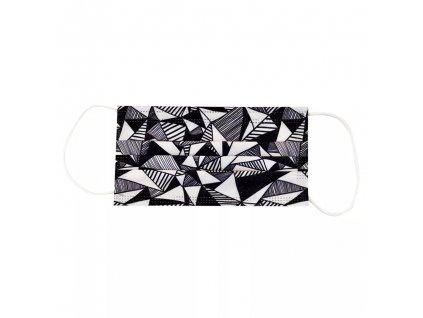 Jednorázová černobílá rouška / maska / ústenka s geometrickým vzorem - CIK CAK
