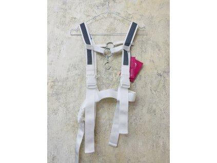 PRINCESS TIRAMISU šedobílý harness / pásek s reflexními prvky
