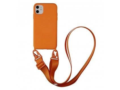IPHONE Crossbody kryt / závěs na telefon s popruhem - oranžová - IPHONE