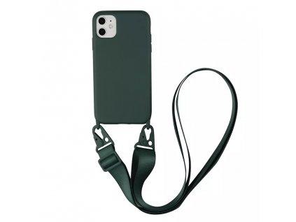 IPHONE Crossbody kryt / závěs na telefon s popruhem - temně zelená