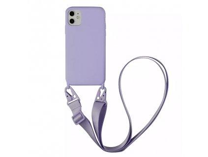 IPHONE Crossbody kryt / závěs na telefon s popruhem - světle fialový kryt / fialový popruh