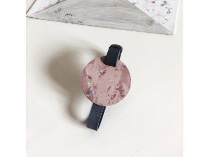 UMMA tenký kožený náramek / šedý s růžovým mramorem