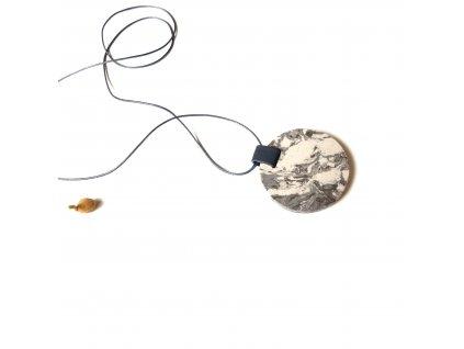 UMMA náhrdelník s šedobílým mramorem a šedou kůží