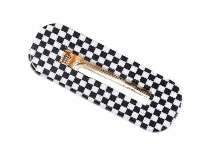 Sponka / clip do vlasů - černobílá kostka - CHESS CLIP II.