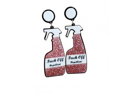 Náušnice FUCK OFF REPELLENT - růžové / PINK