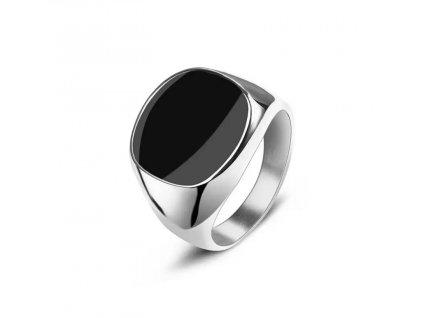 Stříbrný ocelový prsten s černou plochou - BLACK SPOT