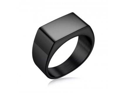 Černý ocelový prsten - obdélníkový / ALL BLACK