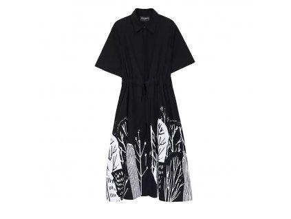 Košilové šaty černé s krátkým rukávem - FLOWERS