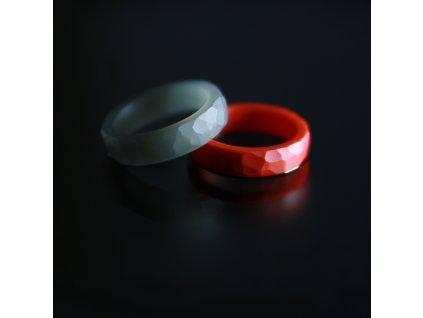 Luba Bakičová - broušený prsten ze skla / CLEAR kroužek geom průhledný
